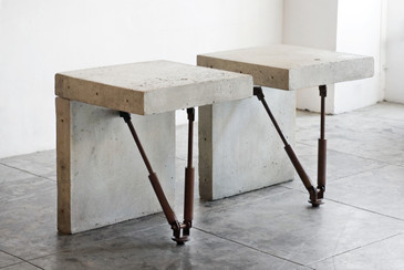 Cast Concrete Display Tables, c. 1970s, Two Available