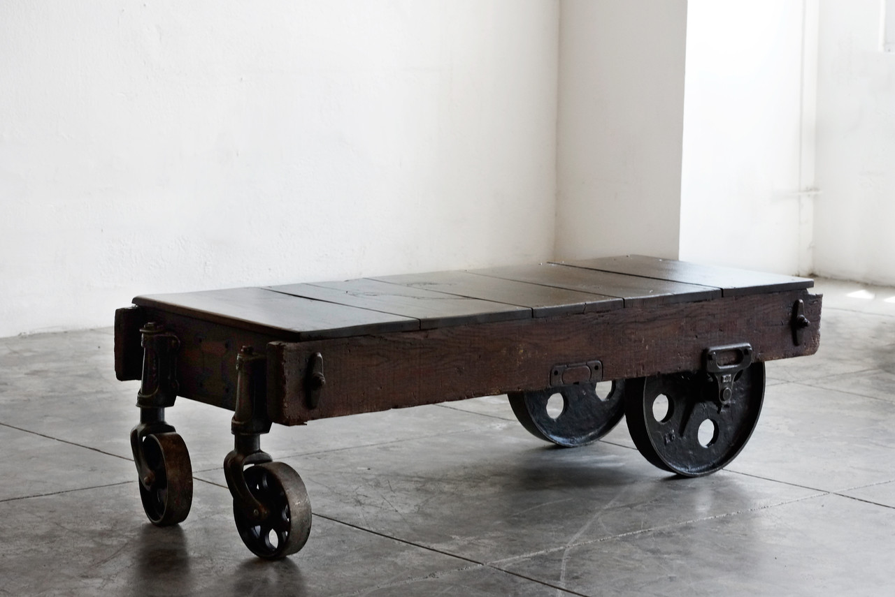 SOLD Vintage Industrial Coffee Table Or Cart Rehab Vintage