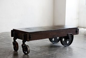 SOLD - Vintage Industrial Coffee Table or Cart