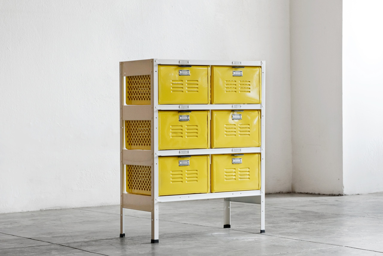 2 X 3 Vintage Locker Basket Unit In Mellow Yellow And White