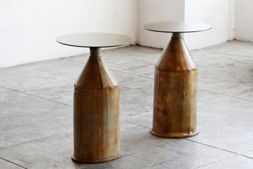 SOLD - Pair of Side Tables with Antique Industrial Bases