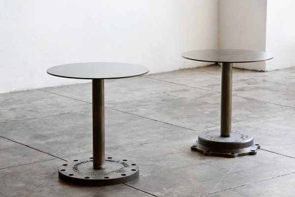 SOLD - Pair of Industrial Side Tables, Cast Iron Bases - Rehab Vintage Interiors