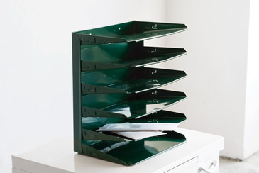 SOLD - Retro Office File Holder Refinished in Forest Green