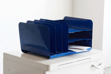 SOLD - Space Age Desktop File Holder, Refinished in Royal Blue