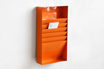 SOLD - Retro Office File Holder/ Magazine Rack in Tangerine