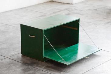 SOLD - Mid Century Drop Door Storage Box/Cabinet, Handmade
