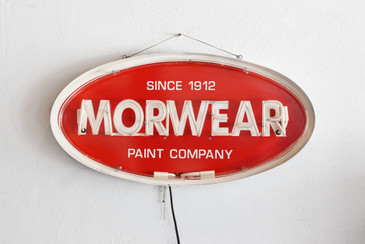 "SOLD - Vintage Neon ""Morwear"" Paint Company Sign"