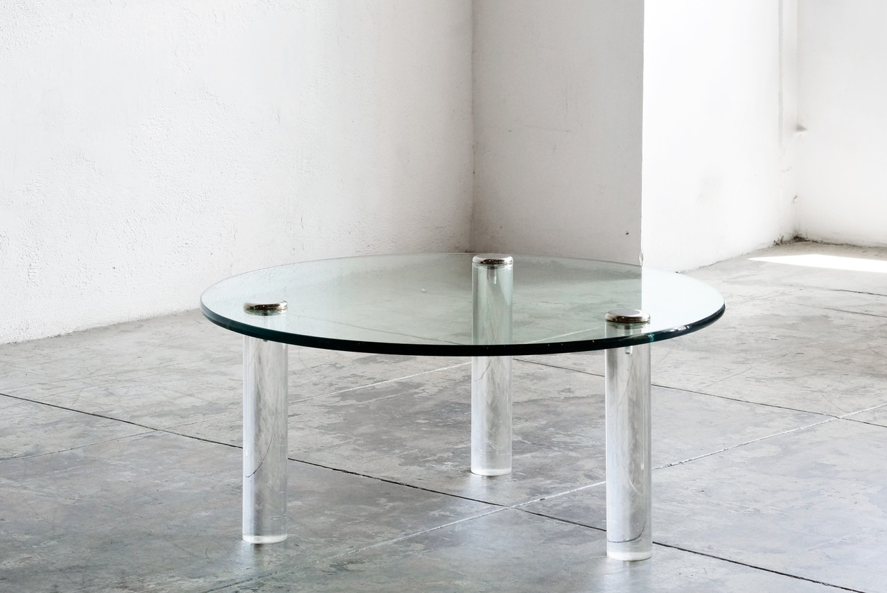 SOLD Glass Acrylic Chrome Coffee Table by Leon Rosen for Pace
