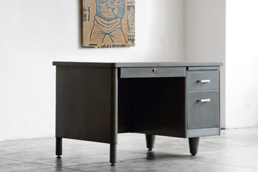 1960s Single Pedestal Tanker Desk, Refinished, SPECIAL ORDER
