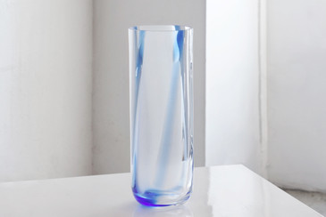 SOLD - Large Cylinder Art Glass Vase, Vintage