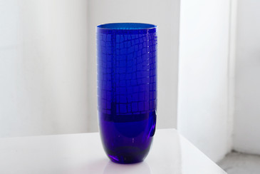 SOLD - Large Art Glass Vase with Etched Snakeskin, Vintage