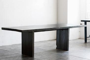 SOLD - Ebonized Teak Dining Table, Vintage Wood