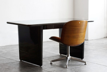 1960s AllSteel Panel Leg Tanker Table, Refinished