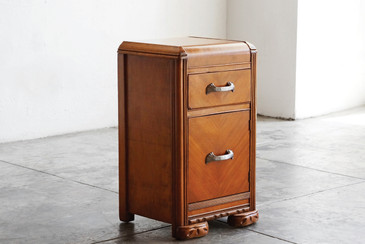 SOLD - Vintage Art Deco Nightstand, Wood and Brass, c. 1930s