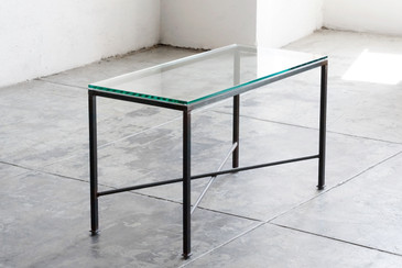 SOLD - FREE SHIPPING! Reclaimed Side Table with New Glass