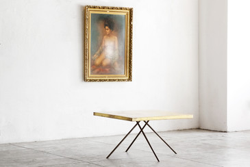 SOLD - Rehab Original - Modernist Brass and Steel Coffee Table