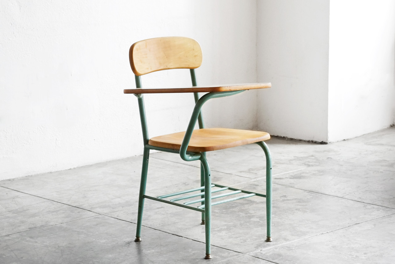 SOLD   One Piece Classroom Desk And Chair By Virco, 1959
