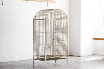 SOLD - Large Vintage Steel Birdcage, c. 1960s