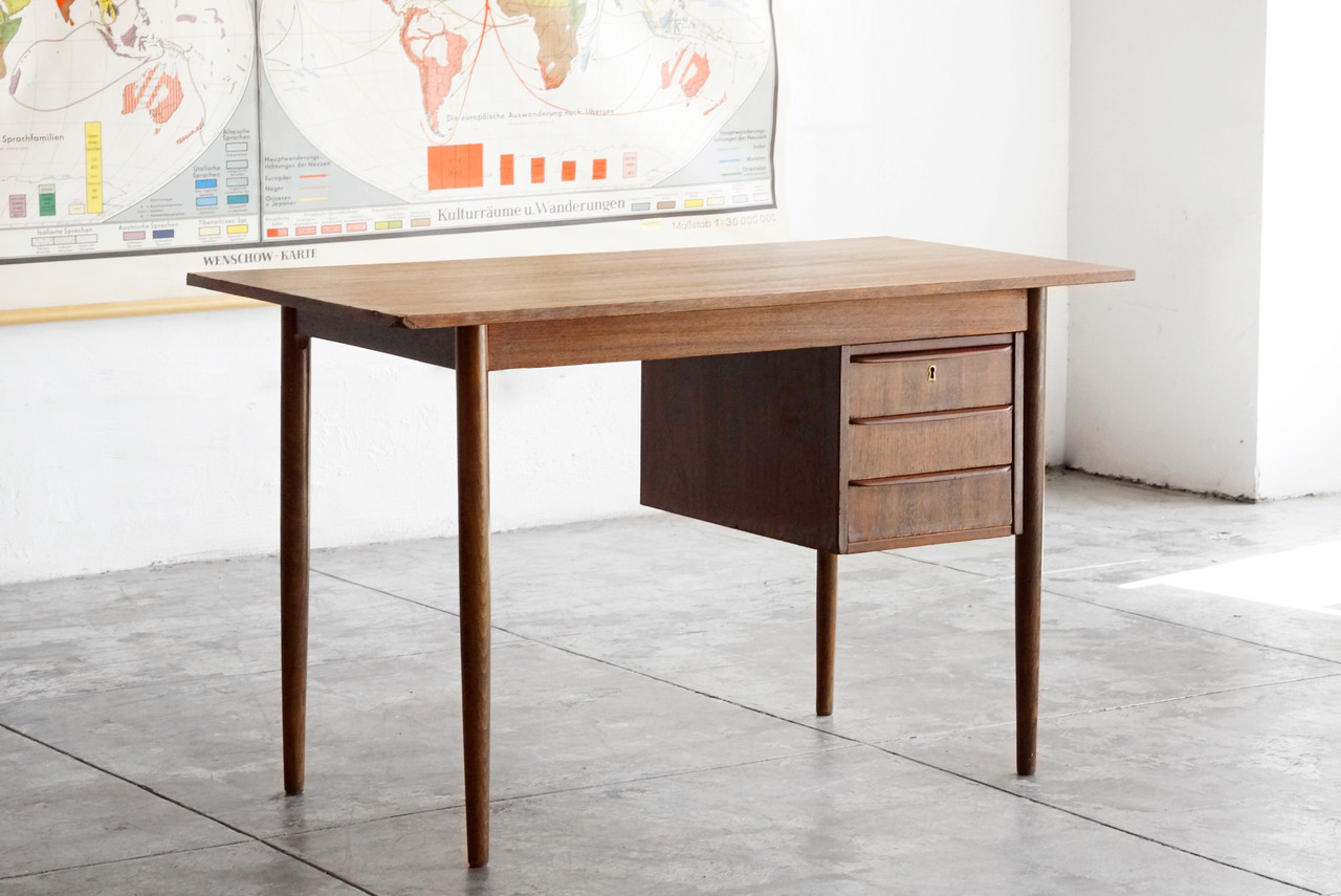 Danish modern wood desk with floating drawers rehab