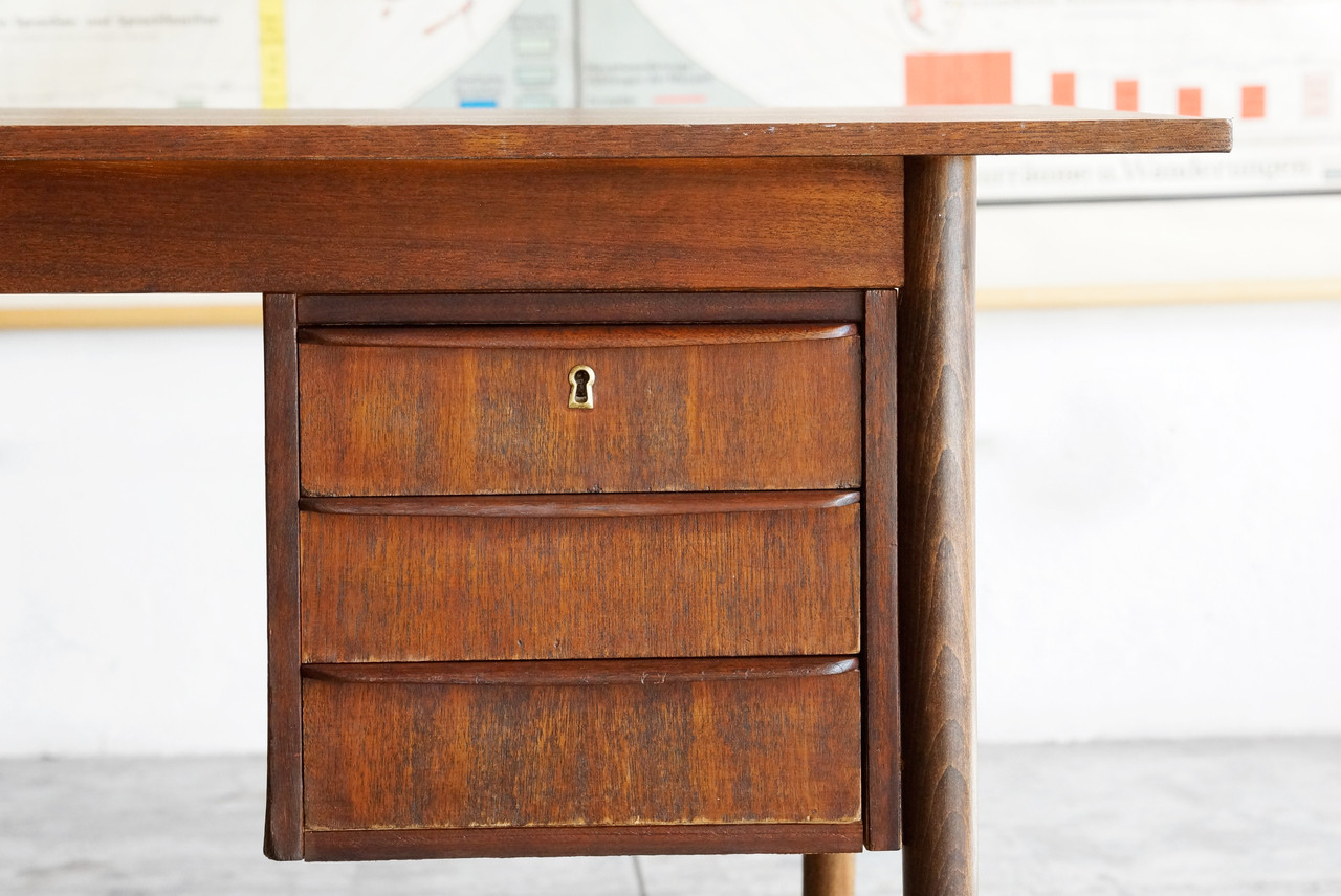 danish modern wood desk with floating drawers  rehab vintage  - danish modern wood desk with floating drawers