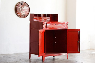 SOLD - 1970s Foreman's Standing Desk Refinished in Red