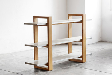 SOLD - Rehab Original - Modernist Zinc and Alder Three-Tier Bookshelf