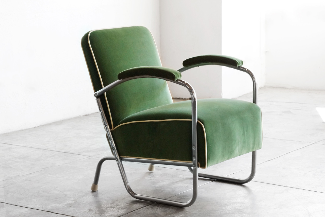 SOLD   1930s Art Deco Club Chair In Kelly Green