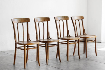 SOLD - Authentic Early Thonet Bistro Chairs, Set of 4
