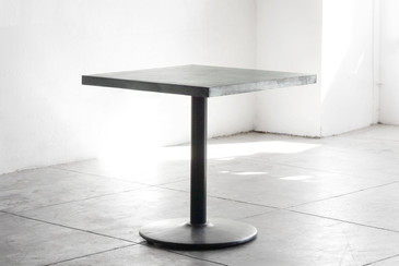SOLD - Bistro Table with Zinc Top and Reclaimed Steel Base