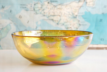 SOLD - Vintage Iridescent Glass Art Bowl