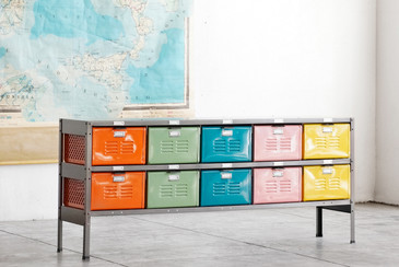 5 x 2 Vintage Locker Basket Unit, Multi-Colored Drawers