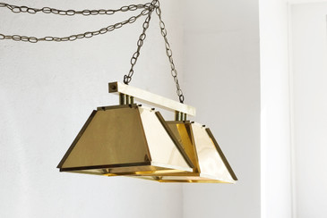 '70s Modern Brass Billiards Light, Double Pendant