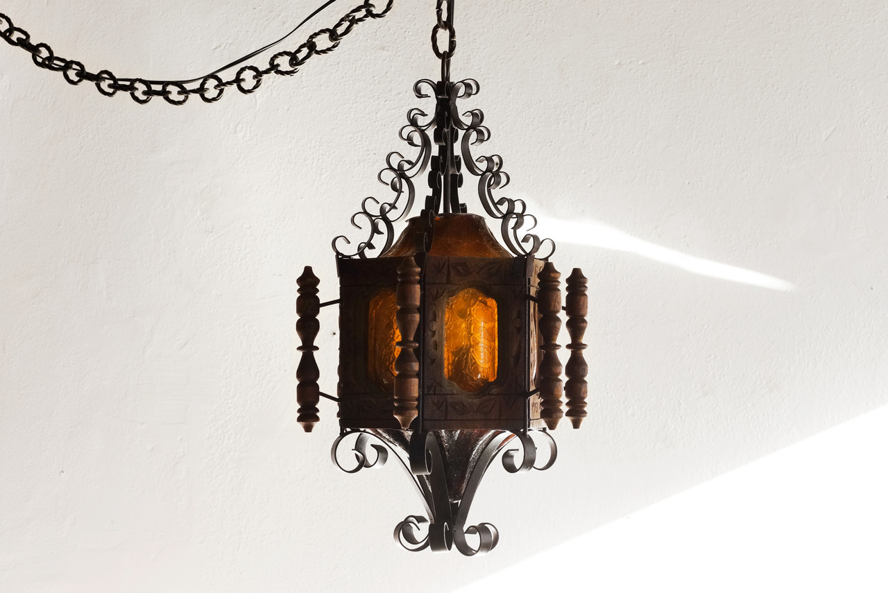 Sold 1960s spanish revival pendent light wrought iron for Spanish revival lighting fixtures