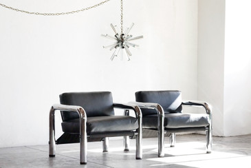 Pair of 1960s Chrome Lounge Chairs by John Mascheroni