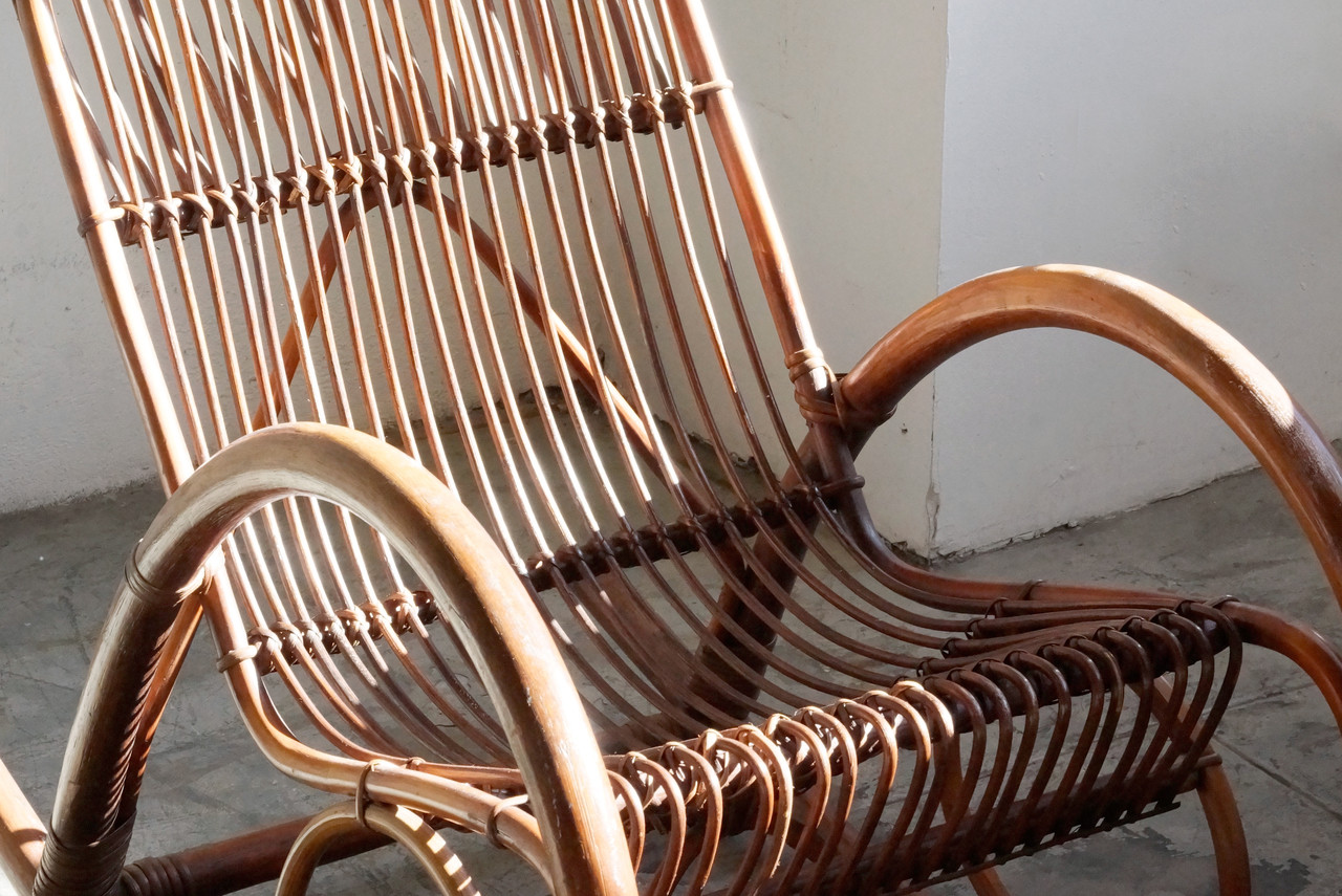 Beau SOLD   Mid Century Modern Rattan Rocking Chair By Franco Albini