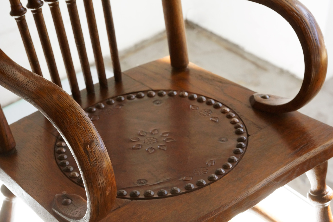 SOLD   Antique Childu0027s Rocking Chair With Hand Tooled Leather Seat