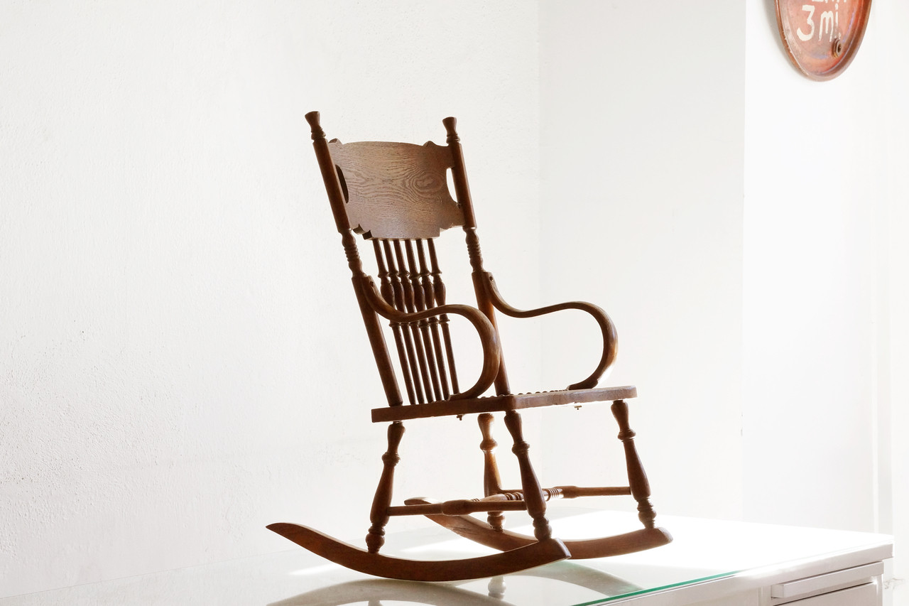 ... Antique Child's Rocking Chair with Hand-Tooled Leather Seat. Image 1 - SOLD - Antique Child's Rocking Chair With Hand-Tooled Leather Seat