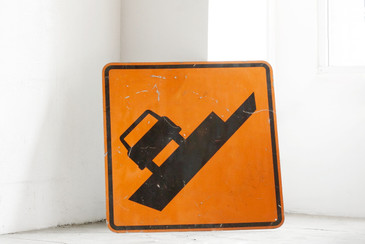 "SOLD - Large Vintage ""Uneven Pavement"" Road Sign"