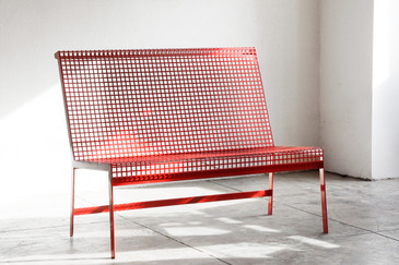 SOLD - Rehab Original - Modernist Steel Bench with Back
