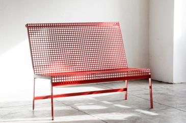 Rehab Original - Modernist Steel Bench with Back