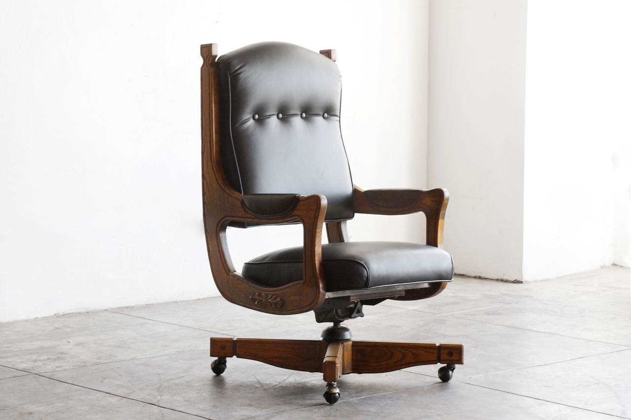 SOLD   Antique Chesterfield Captains Chair In Oak And Leather