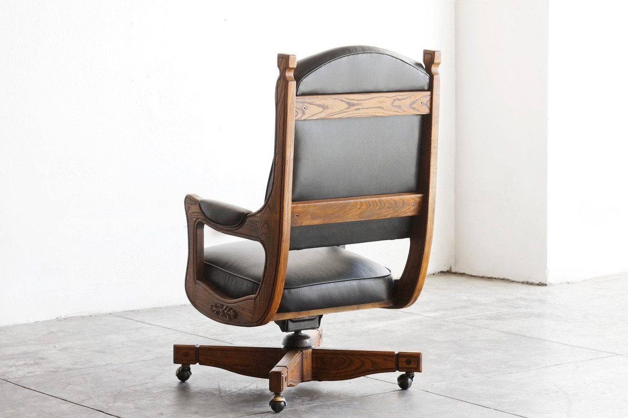 Antique captains chair - Sold Antique Chesterfield Captains Chair In Oak And Leather