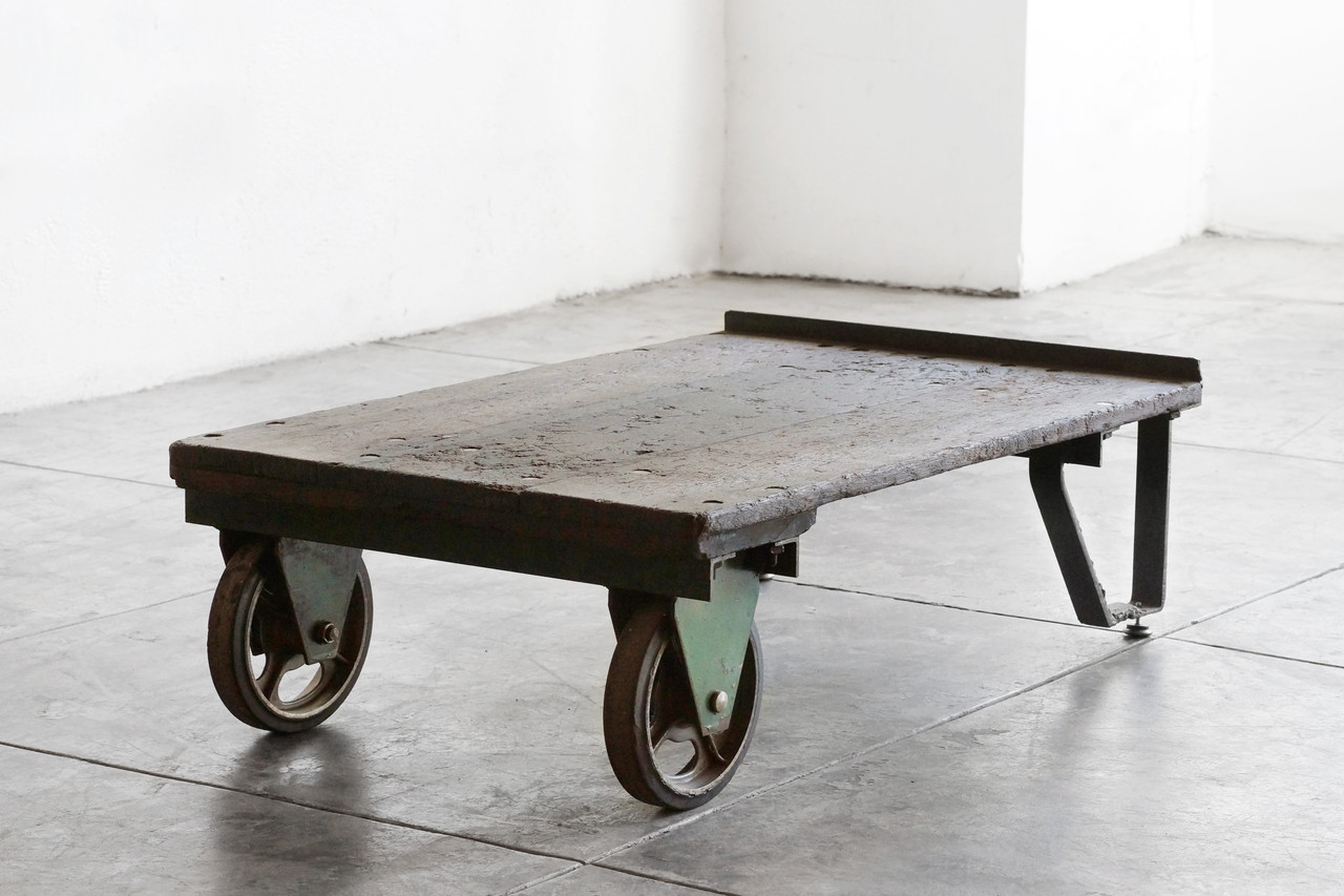 SOLD   Vintage Industrial Cart/ Coffee Table