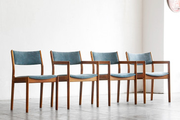 SOLD - Set of 4 Mid Century Modern Teak Chairs, Reupholstered