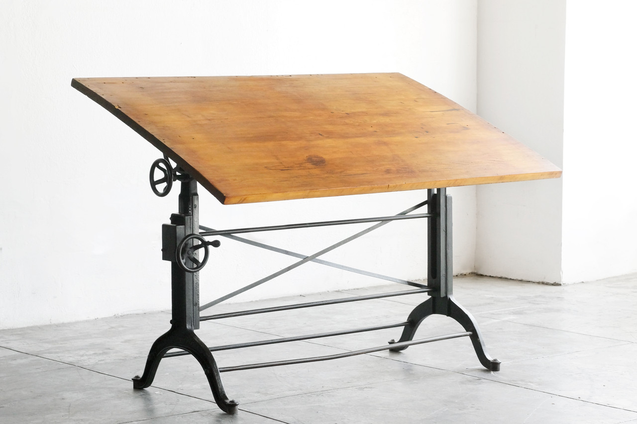 SOLD   Antique Cast Iron Drafting Table, Frederick Post Co.