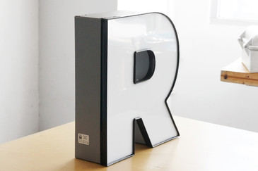 "Jumbo Vintage Channel Letter ""R"" in White"