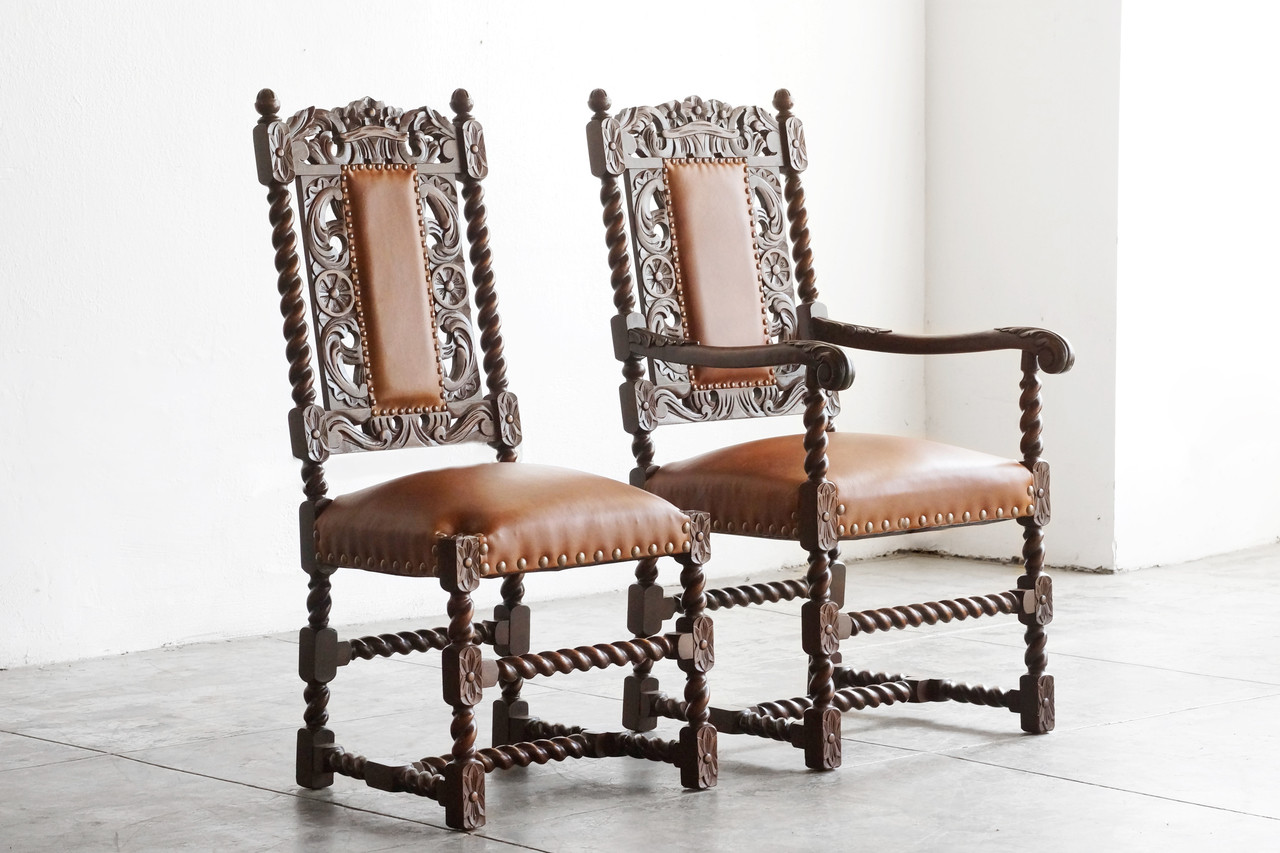 Nice SOLD   Pair Of Antique Jacobean Style Mahogany Chairs