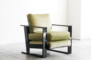 Large Lacquer Armchair in the Style of Jean Royere