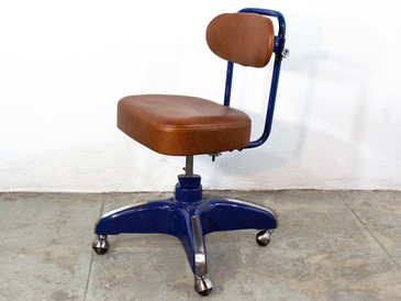 SOLD - 1950s  Cosco Steno Chair. Midnight Blue with Brown Leather