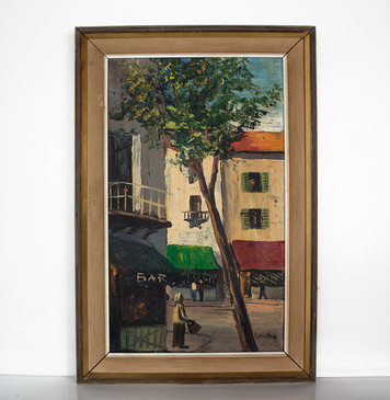 Mid-Century Oil Painting - Street Scene